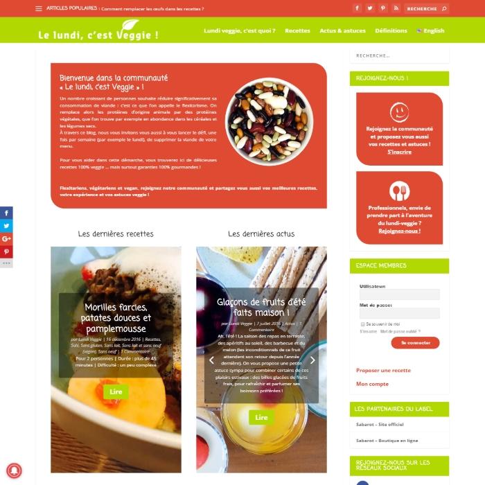 Site internet : Lundi Veggie